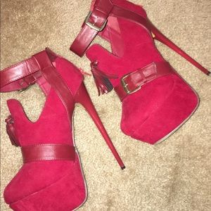 Burgundy platform stiletto heels